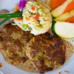 Delicious crab cakes are served at our retirement community.